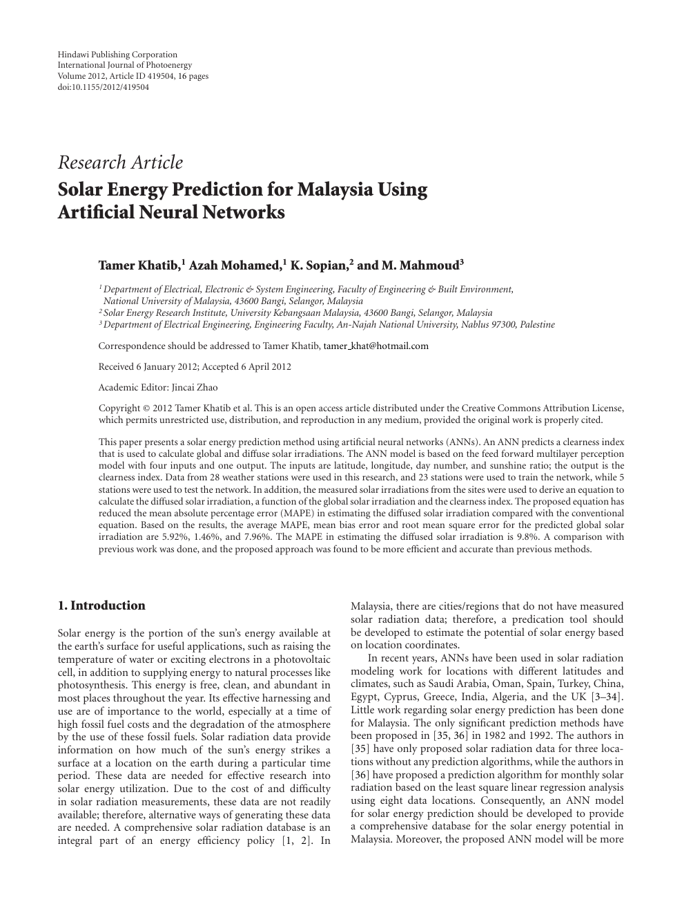 Solar Energy Prediction For Malaysia Using Artificial Neural Networks Topic Of Research Paper In Earth And Related Environmental Sciences Download Scholarly Article Pdf And Read For Free On Cyberleninka Open Science