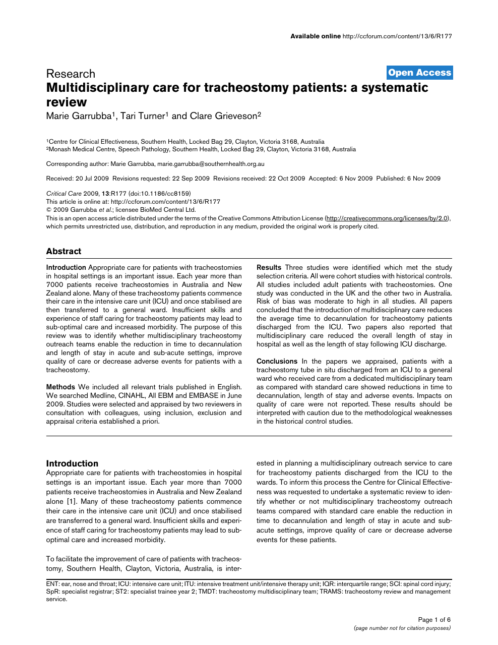 Multidisciplinary care for tracheostomy patients: a systematic