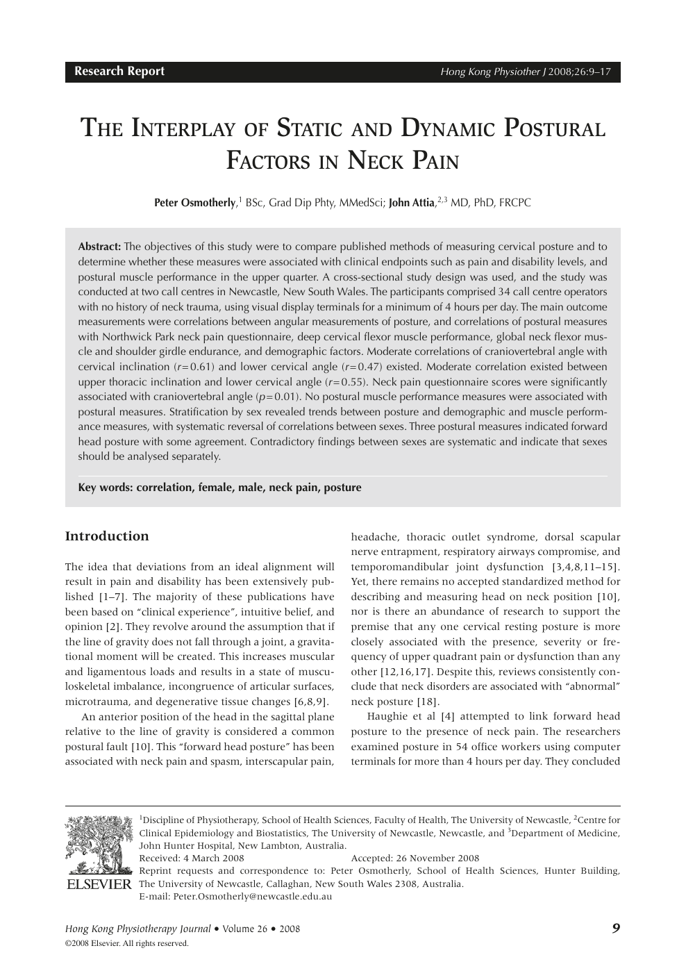 The Interplay of Static and Dynamic Postural Factors in Neck