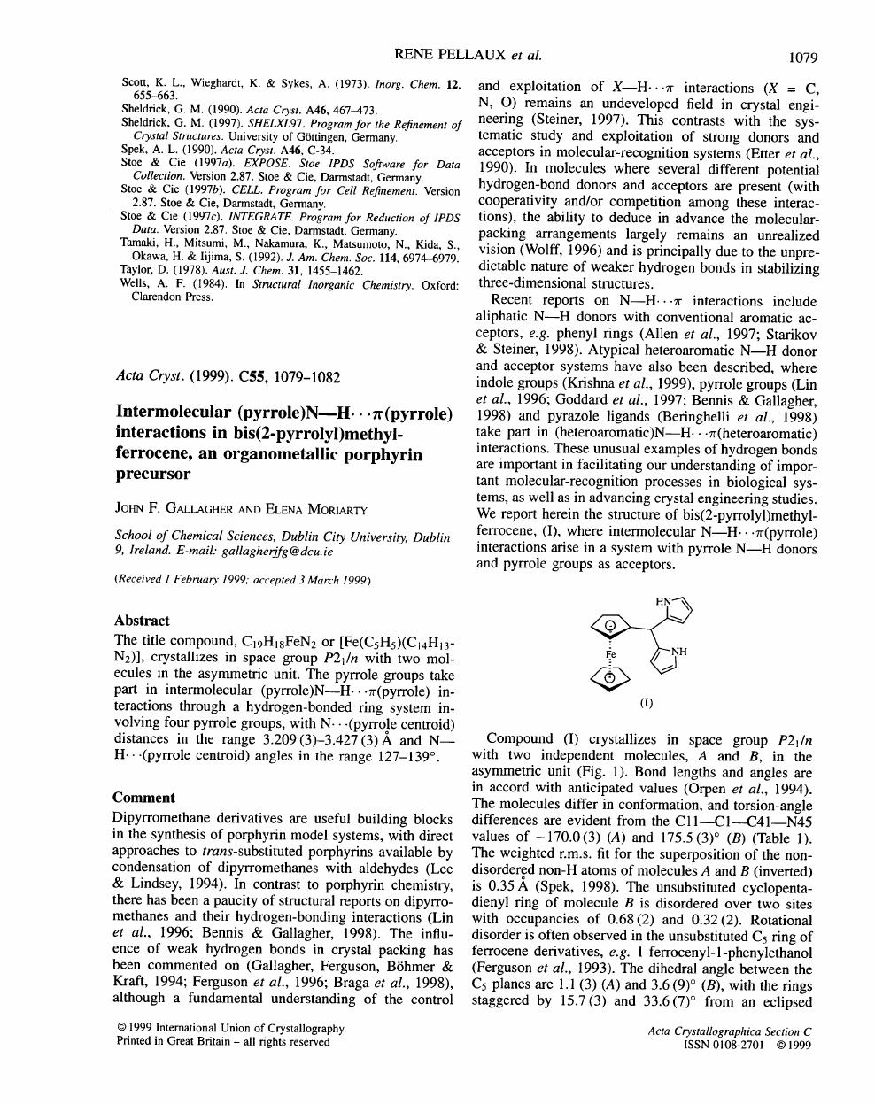 Intermolecular (pyrrole)N—H   π(pyrrole) interactions in bis