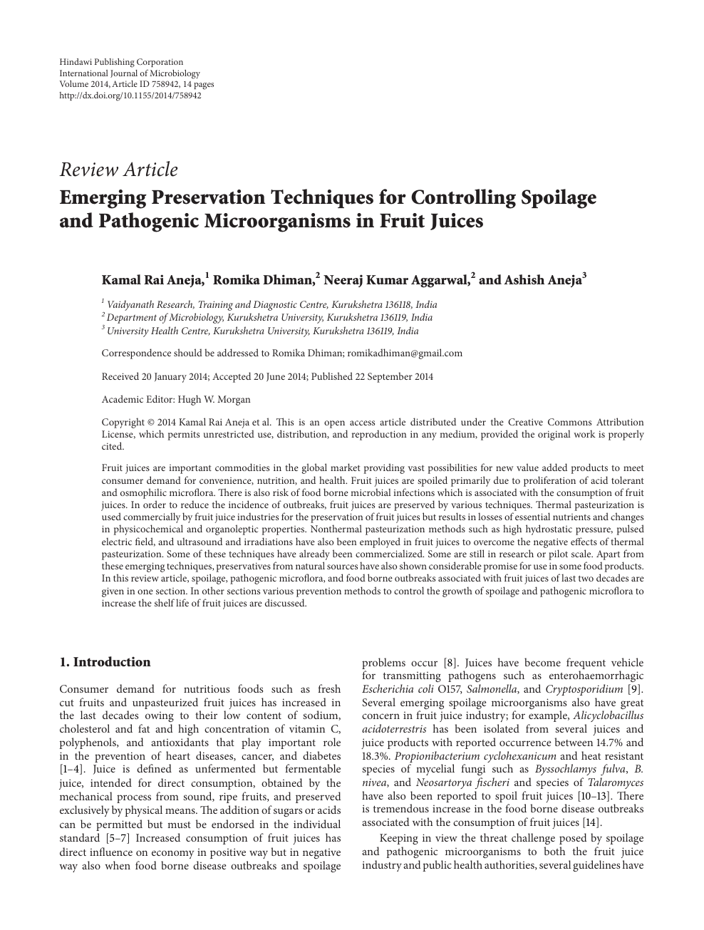 Emerging Preservation Techniques for Controlling Spoilage and