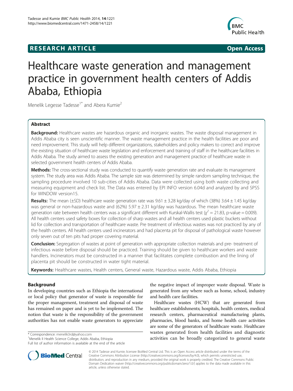 Healthcare waste generation and management practice in