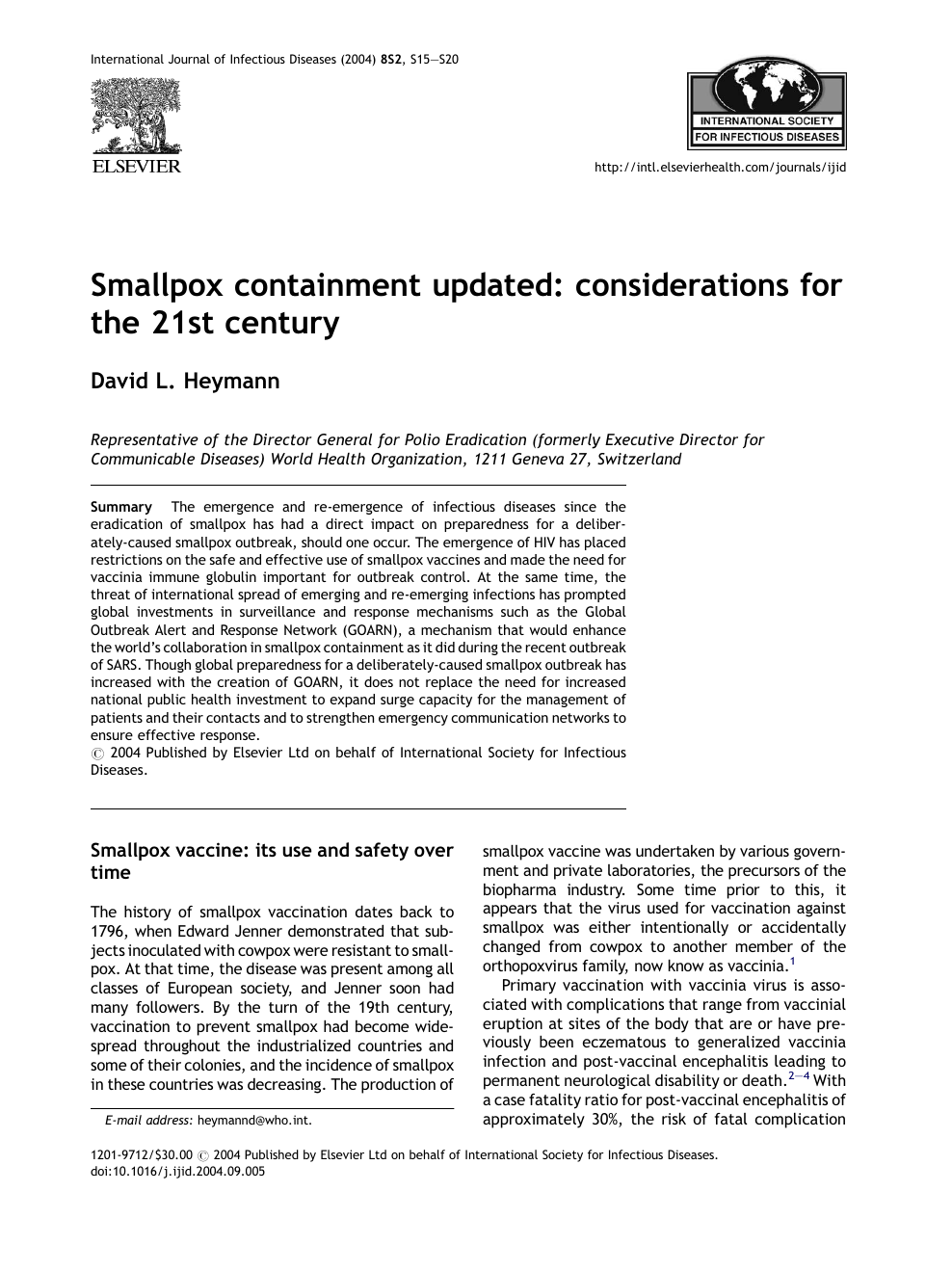 Smallpox containment updated: considerations for the 21st