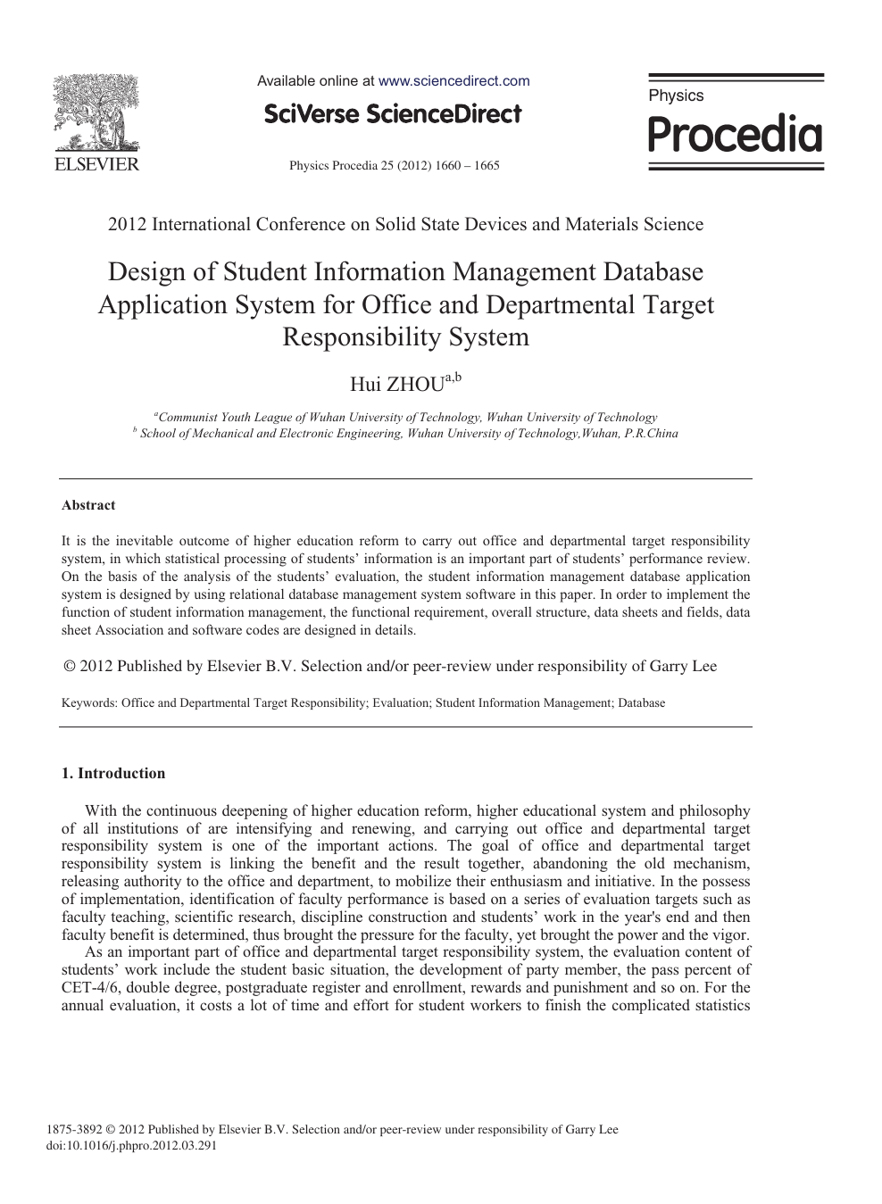 Design Of Student Information Management Database Application System For Office And Departmental Target Responsibility System Topic Of Research Paper In Computer And Information Sciences Download Scholarly Article Pdf And Read For