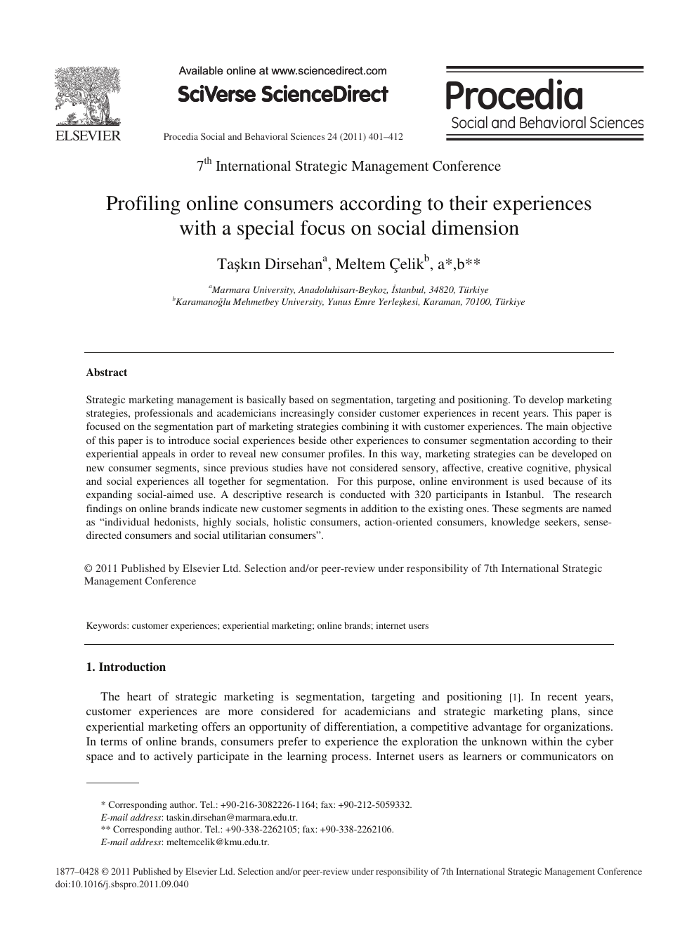 Profiling online consumers according to their experiences with a