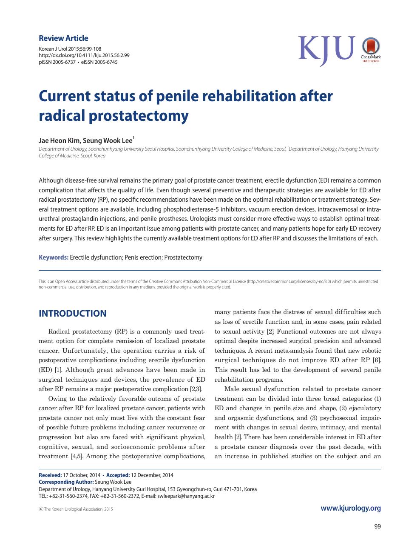Current Status Of Penile Rehabilitation After Radical