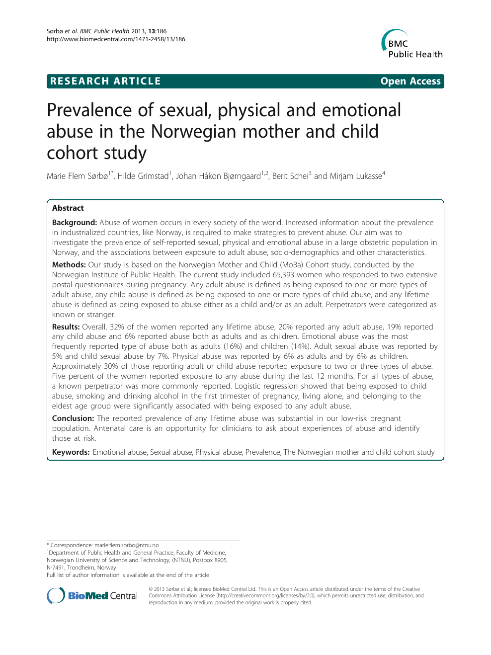Prevalence Of Sexual Physical And Emotional Abuse In The