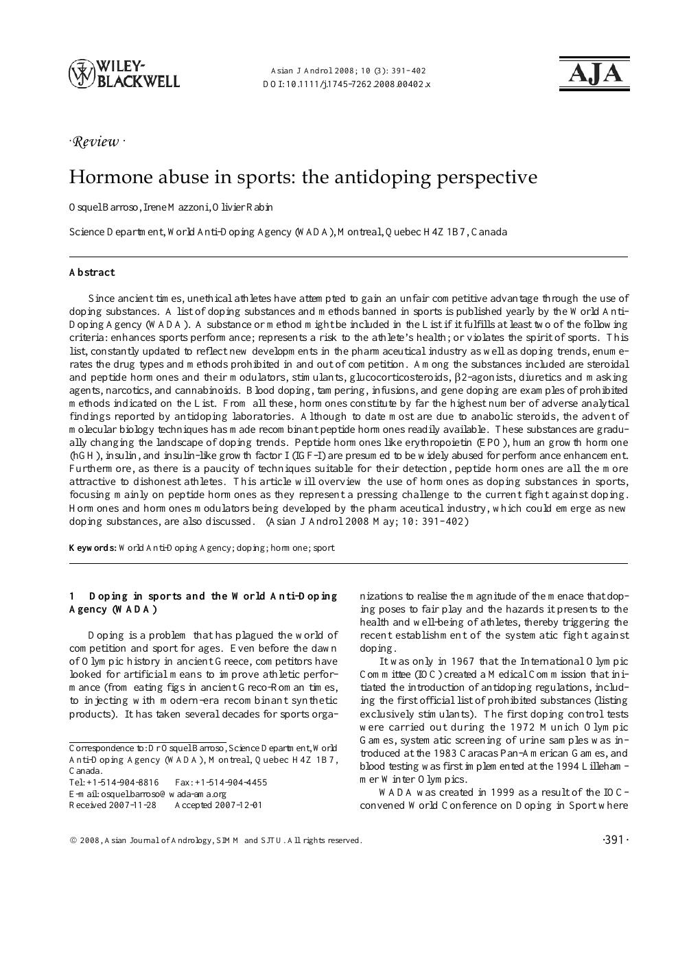 staps numero 70 special sport et dopage