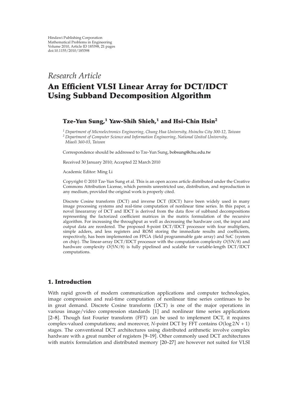 An Efficient VLSI Linear Array for DCT/IDCT Using Subband
