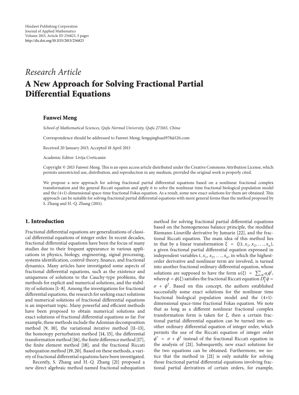 A New Approach for Solving Fractional Partial Differential Equations