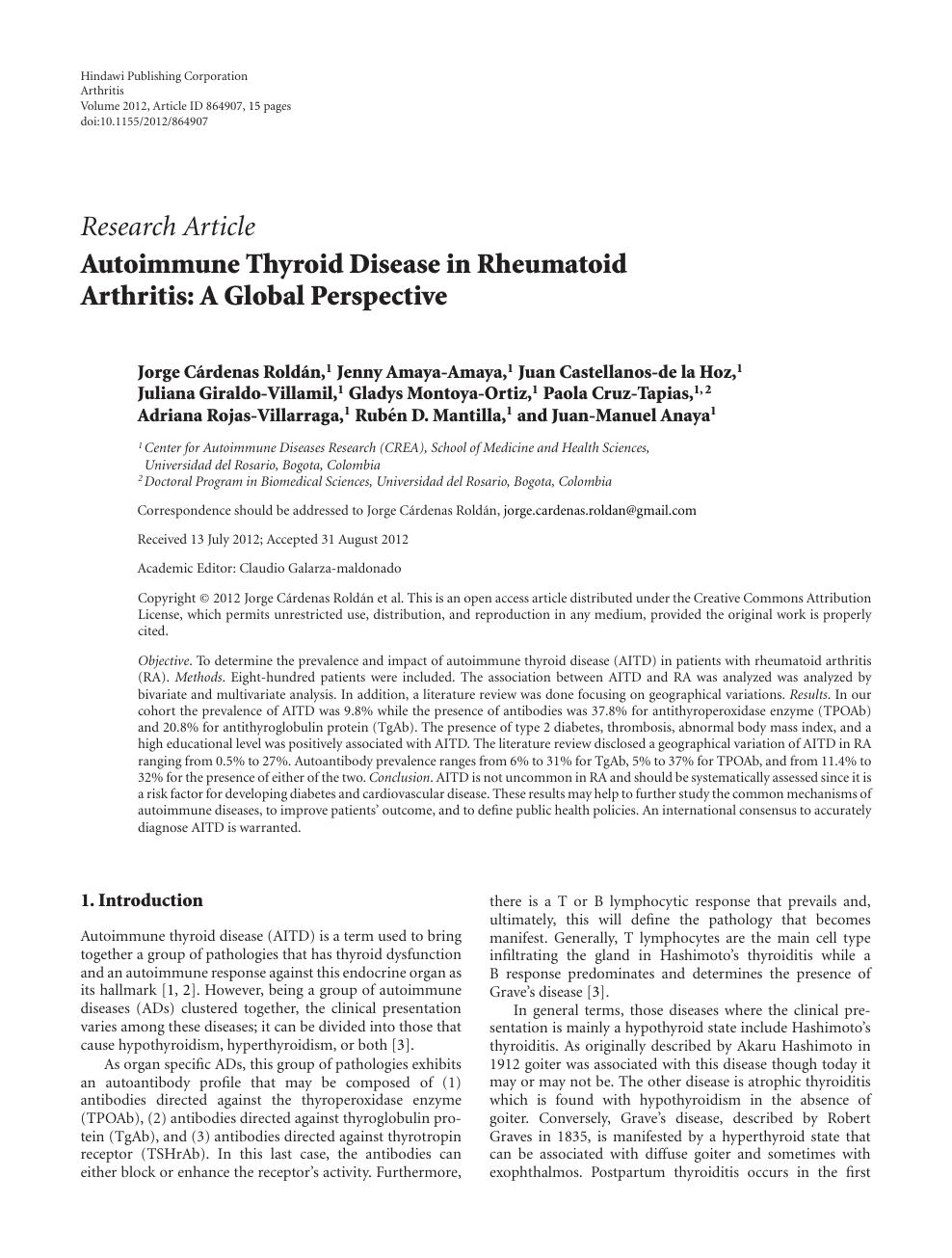 Autoimmune Thyroid Disease in Rheumatoid Arthritis: A Global