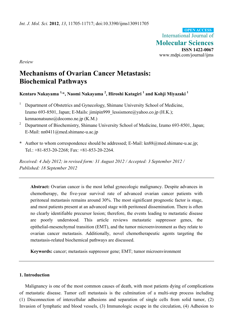Mechanisms Of Ovarian Cancer Metastasis Biochemical Pathways Topic Of Research Paper In Biological Sciences Download Scholarly Article Pdf And Read For Free On Cyberleninka Open Science Hub