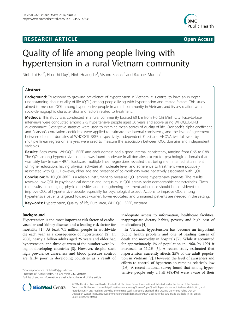 Quality of life among people living with hypertension in a