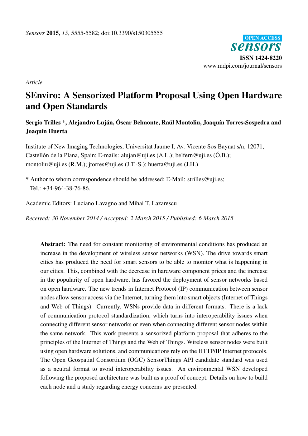 SEnviro: A Sensorized Platform Proposal Using Open Hardware