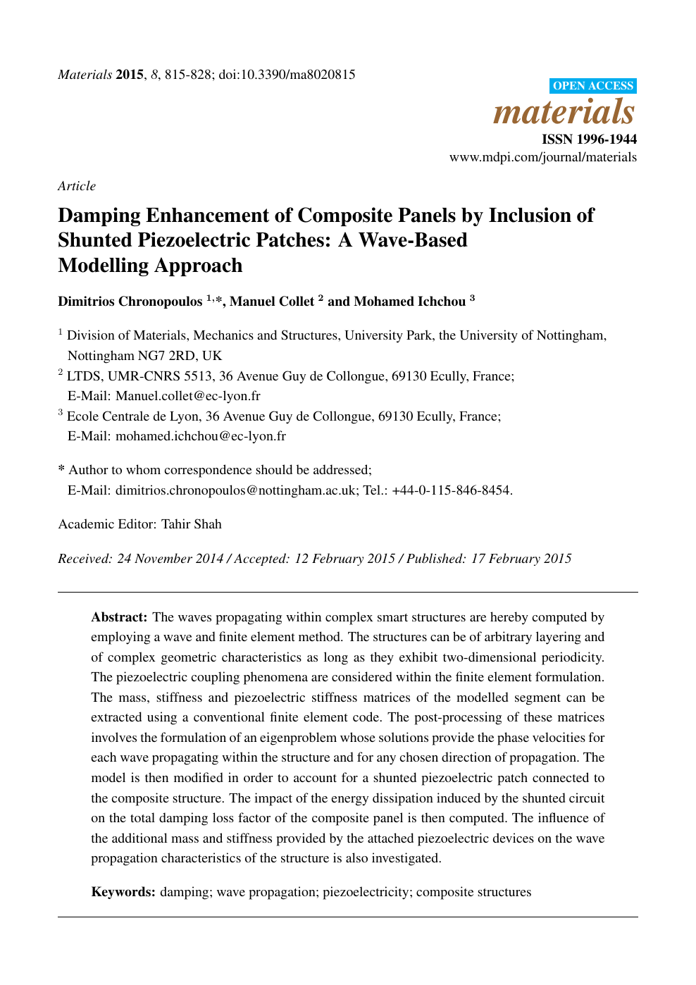 Damping Enhancement of Composite Panels by Inclusion of Shunted