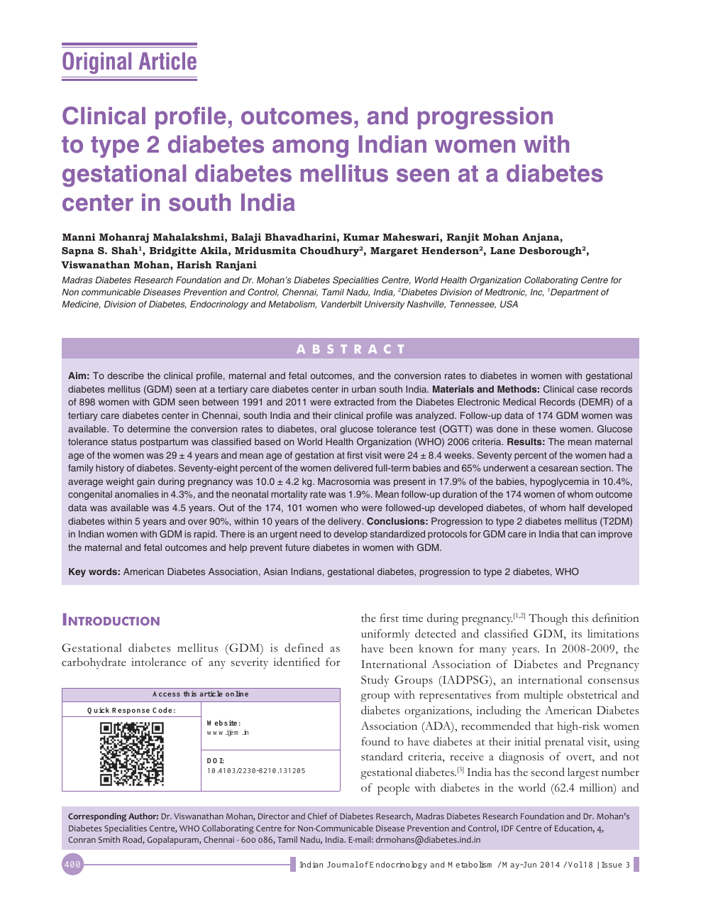 Clinical Profile Outcomes And Progression To Type 2 Diabetes