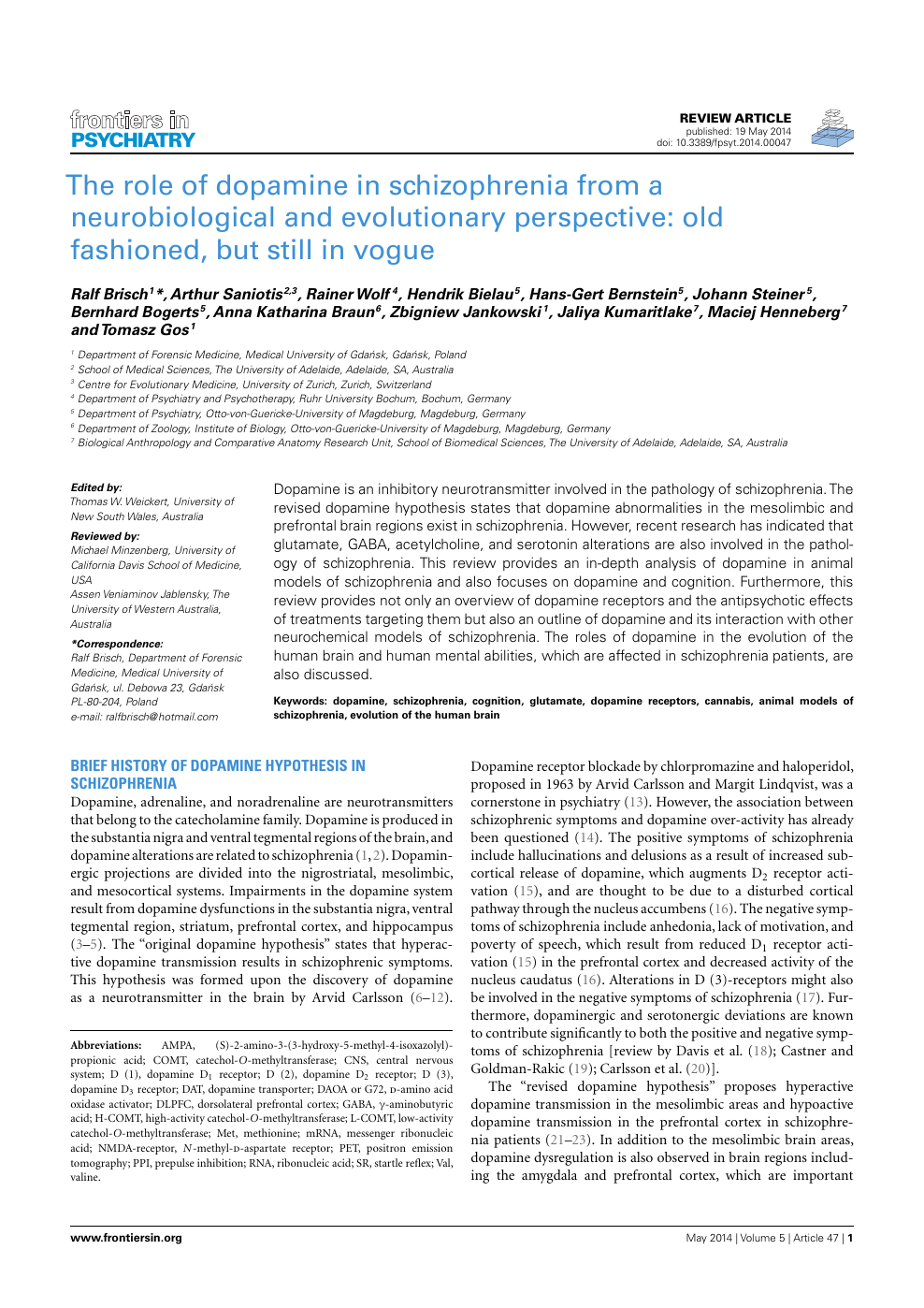 The Role of Dopamine in Schizophrenia from a Neurobiological