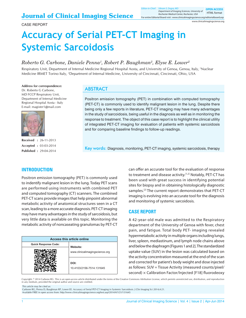 Accuracy of Serial PET-CT Imaging in Systemic Sarcoidosis