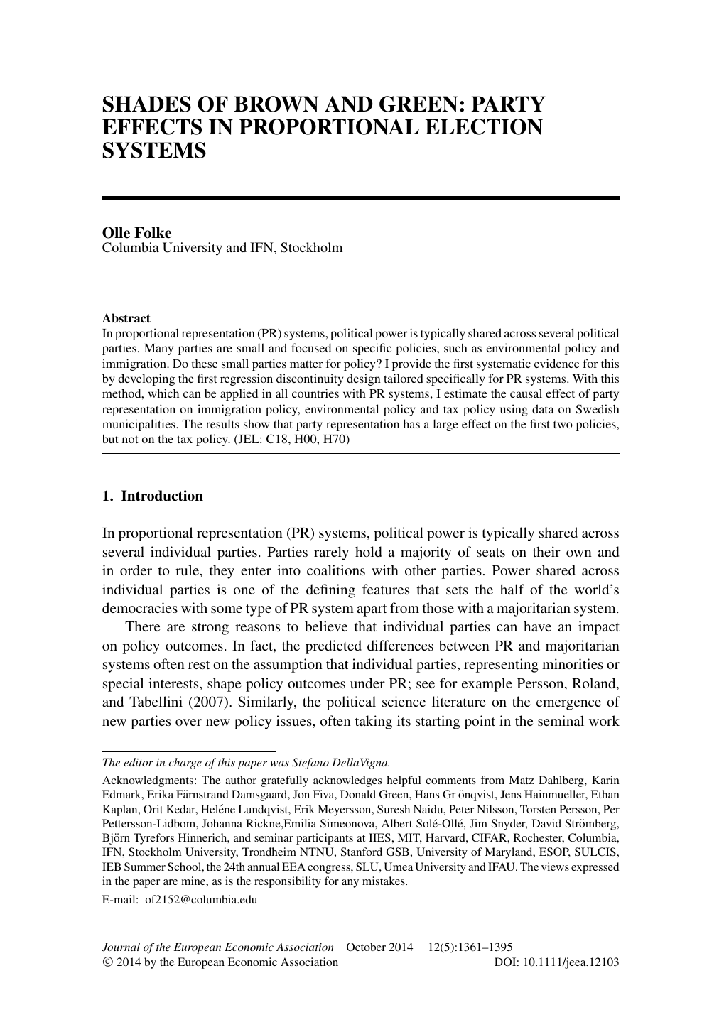 Shades Of Brown And Green Party Effects In Proportional Election Systems Topic Of Research Paper In Political Science Download Scholarly Article Pdf And Read For Free On Cyberleninka Open Science Hub