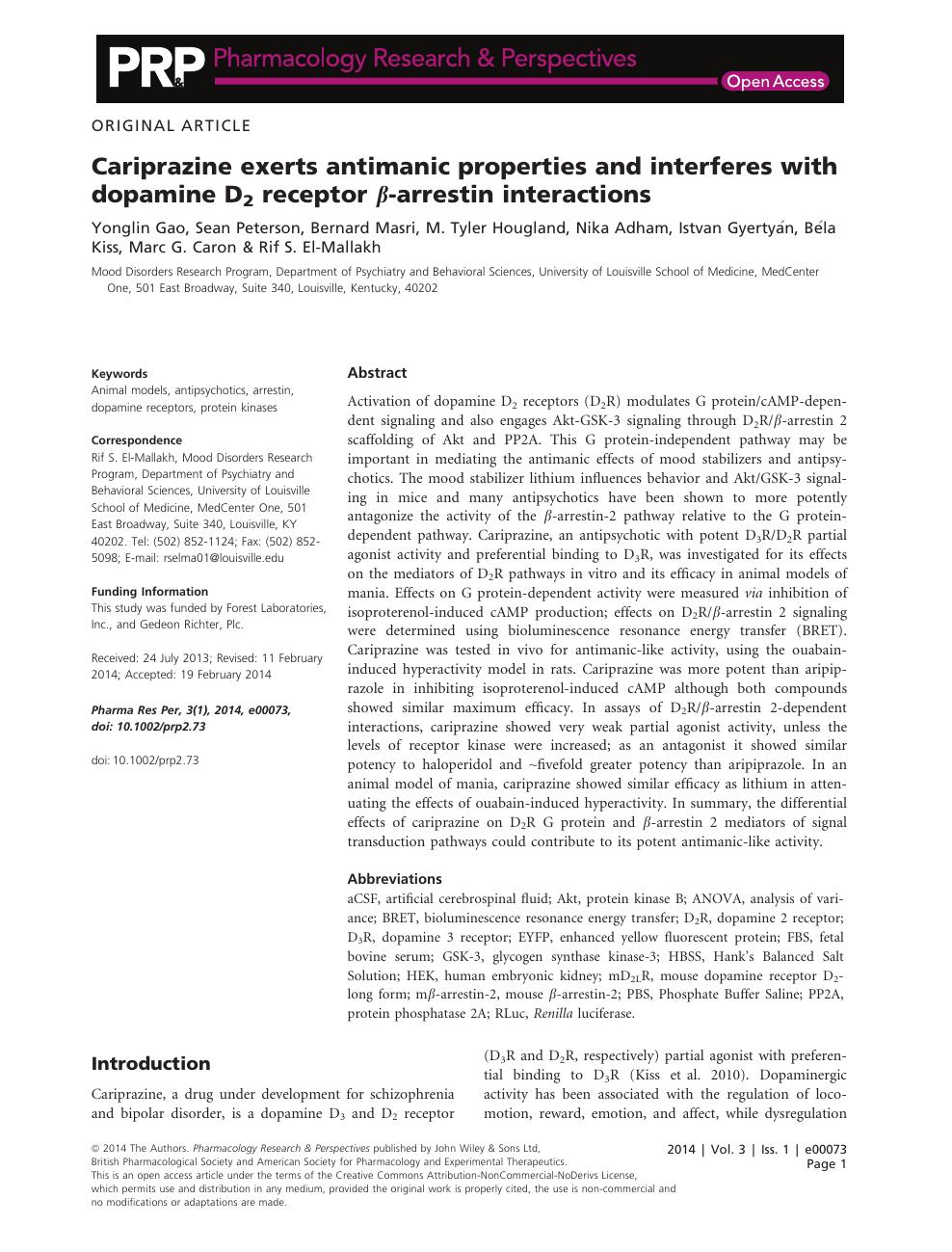 Cariprazine exerts antimanic properties and interferes with dopamine