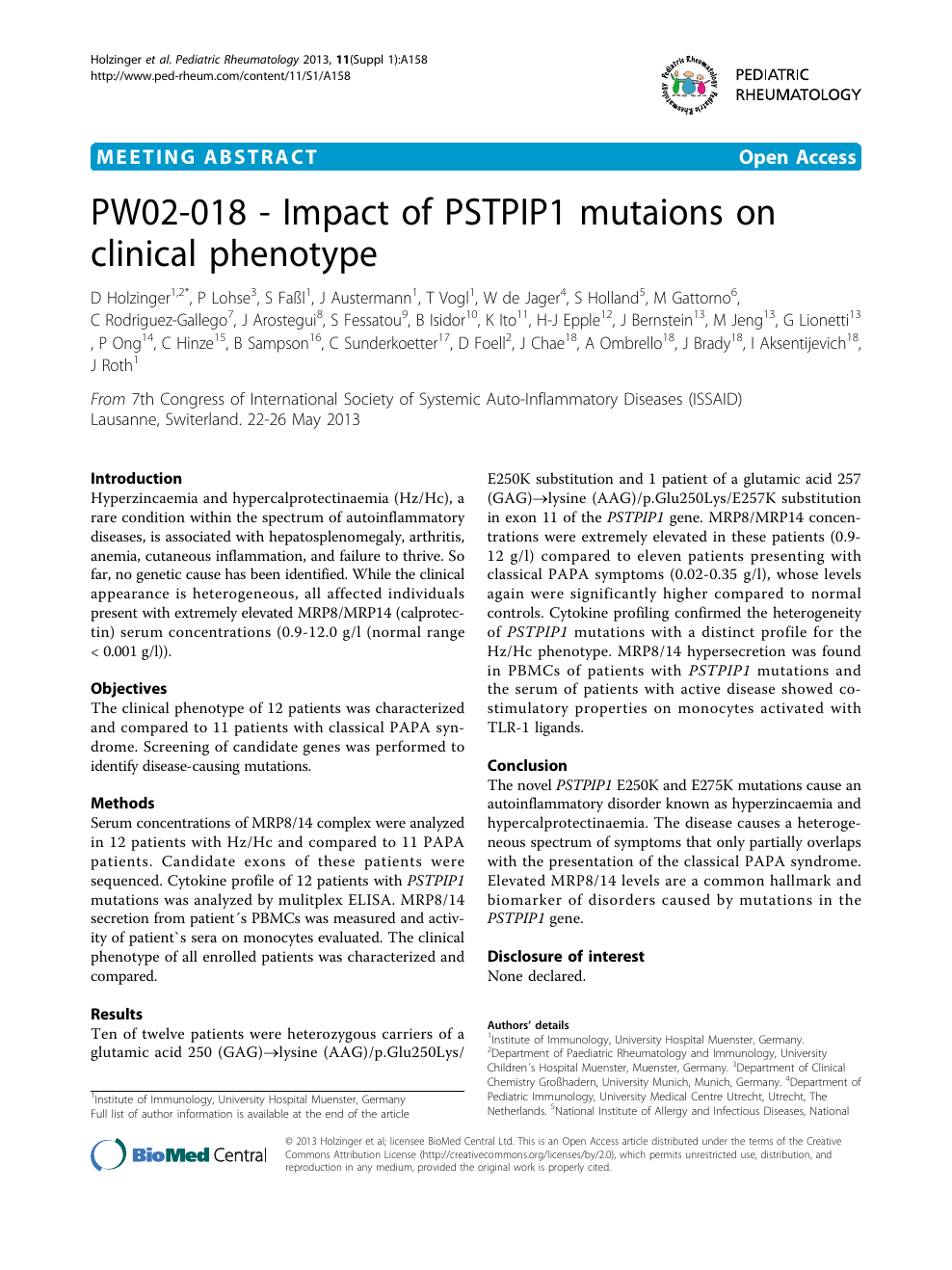 PW02-018 - Impact of PSTPIP1 mutaions on clinical phenotype