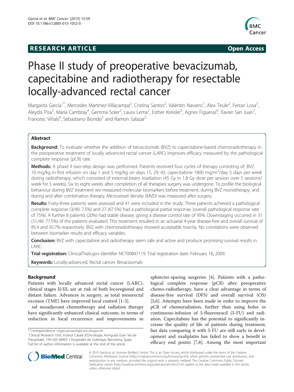 Phase Ii Study Of Preoperative Bevacizumab Capecitabine And Radiotherapy For Resectable Locally Advanced Rectal Cancer Topic Of Research Paper In Clinical Medicine Download Scholarly Article Pdf And Read For Free On Cyberleninka